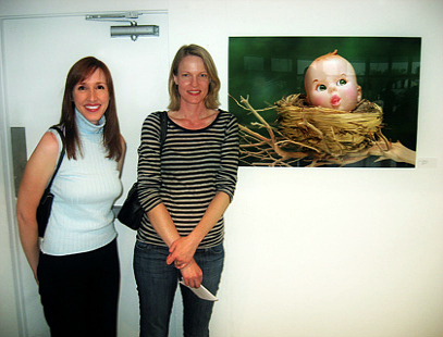 """Assistant Curator at The Museum of Modern Art, NYC – Starr Figura and Linda Frost at The Long Beach Island Foundation of the Arts and Sciences, """"Works of Art on Paper"""" opening reception, June 2007"""