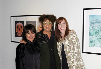 """(from left to right) Artist, Cheryl Ekstrom, Co-Curator, Betty Ann Brown and Linda Frost at the opening reception of """"Echoes"""" at the Orange County Center for Contemporary Art (OCCCA) in Santa Ana, California"""