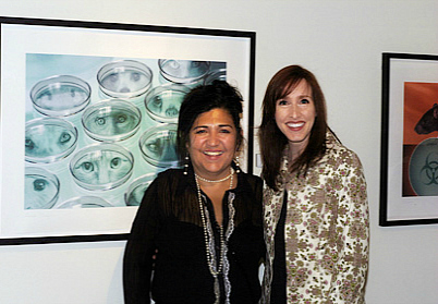 """Co-Curator, Linda Vallejo with Linda Frost at the opening reception of """"Echoes: Women Inspired by Nature"""" held at the Orange County Center for Contemporary Art (OCCCA) in Santa Ana, California"""