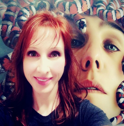 """Posing in front of Jorge Villalba's gorgeous oil on canvas ~ """"Medusa"""", 2013.    — at  Art Basel Miami Beach  ."""