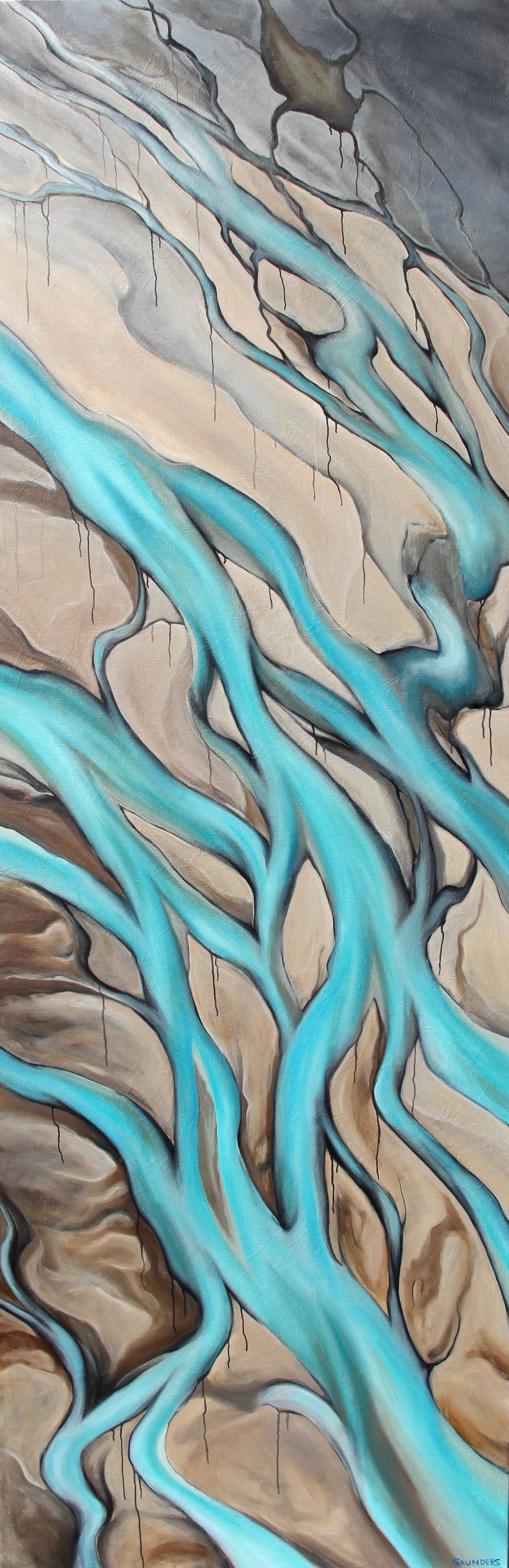 Blue Veins      ($1,450) Oil- 72 x 24 inches.    Available for purchase.      The beauty in sadness? This is how I feel when I see the bright blue waters of a glacial flow. They are disappearing before our eyes and it tears my heart out to see the earth lay paths for the ice melt of the century. Will they be gone in fifty years? I will do my part for conservation and focus on the beauty of colors that I never knew existed until I saw them.      For information...