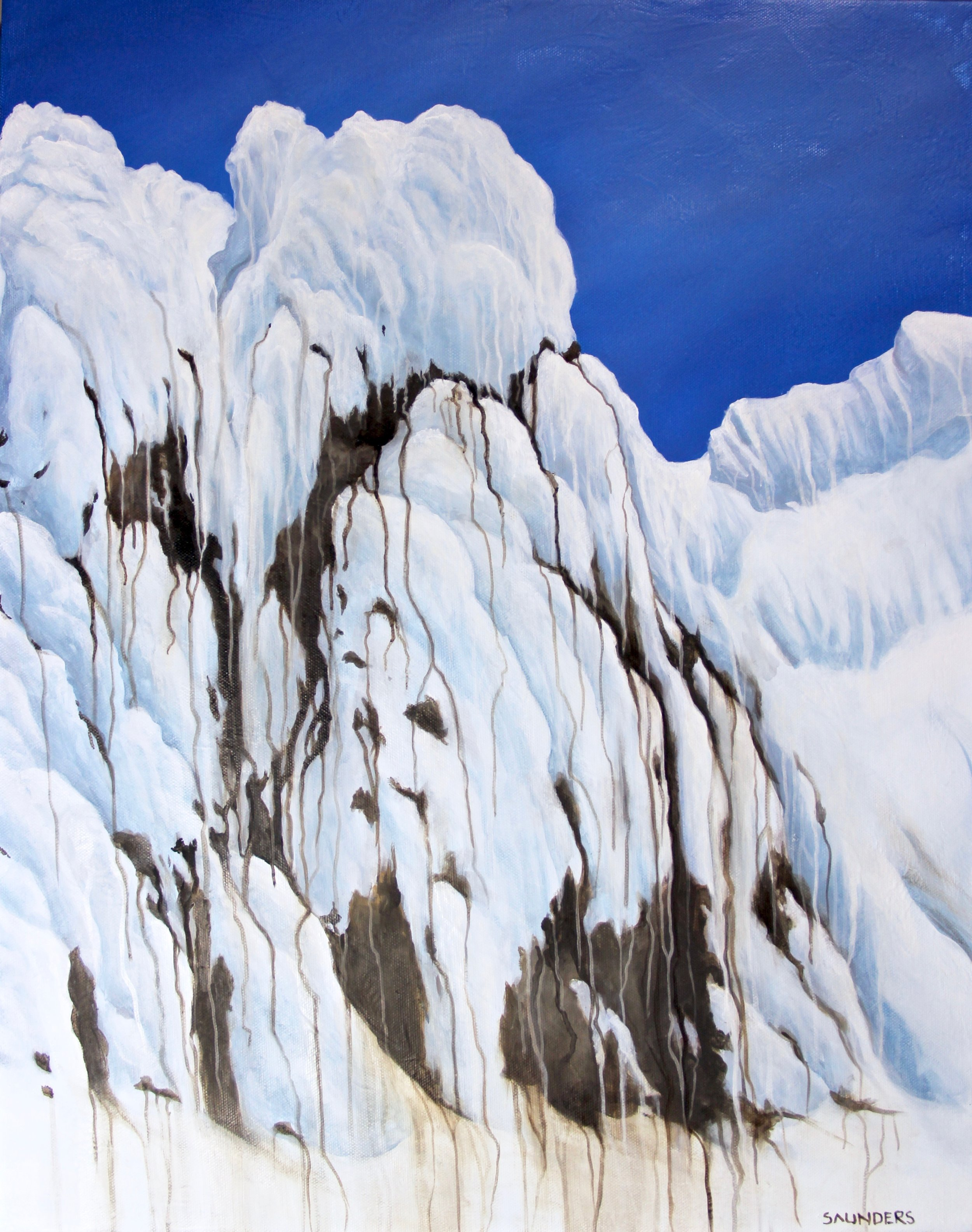God's Ice Cream       ($325) Oil- 20 x 16 inches.    Available for purchase.      I climbed Mount Hood in the spring and was overwhelmed by the way the snow covered the sharp rocks and features of this volcano. The backdrop of intense blue against the bright white snow was surreal     site. It really looked like ice cream!      For information...