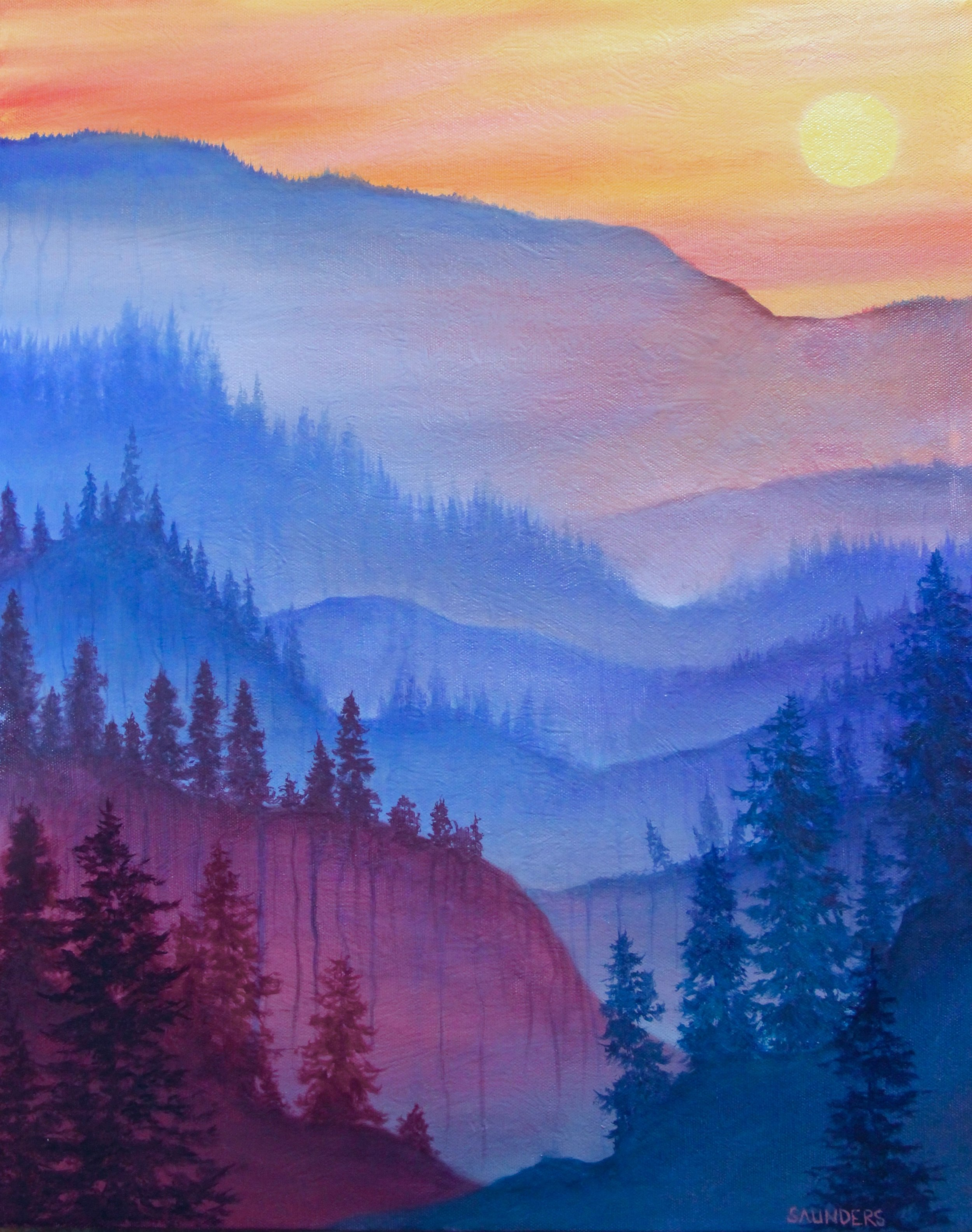 So Far         ($325) Oil- 20 x 16 inches.    Available for purchase.      This piece is a rendering of a stunning sunset and atmospheric haze that seemed to go on forever.      For information...
