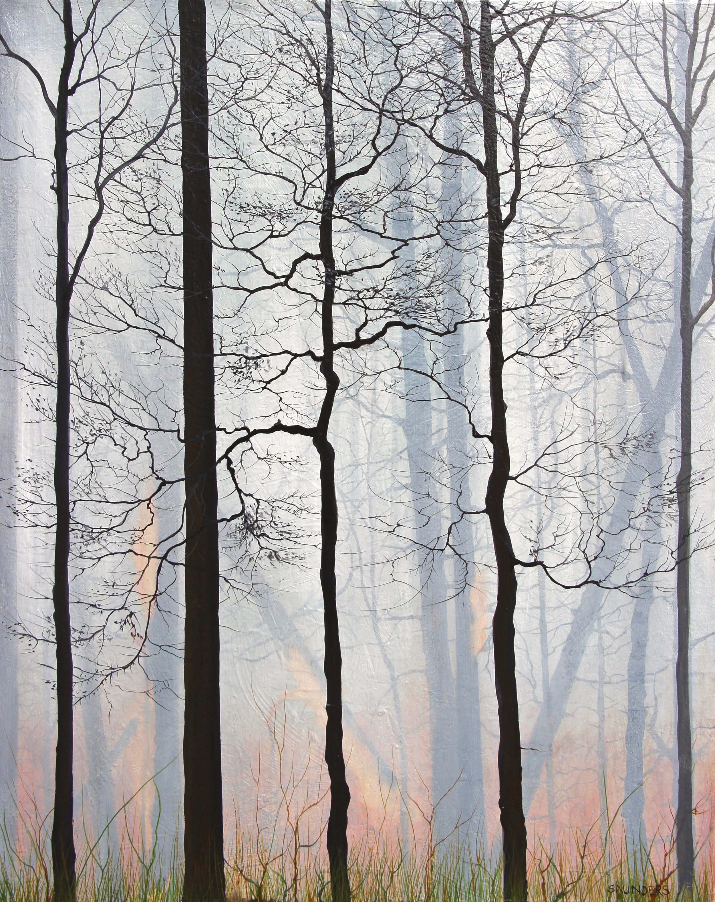 The White Trees       ($550) Oil- 25 x 20 inches.      SOLD        Smoke makes a landscape of it's own, covering a forest in a warm haze of white with layers of black trees and blazing red orange fire in the distance. It's a sign of rejuvenation and terror simultaneously and I find it captivating and mysterious.      For information...