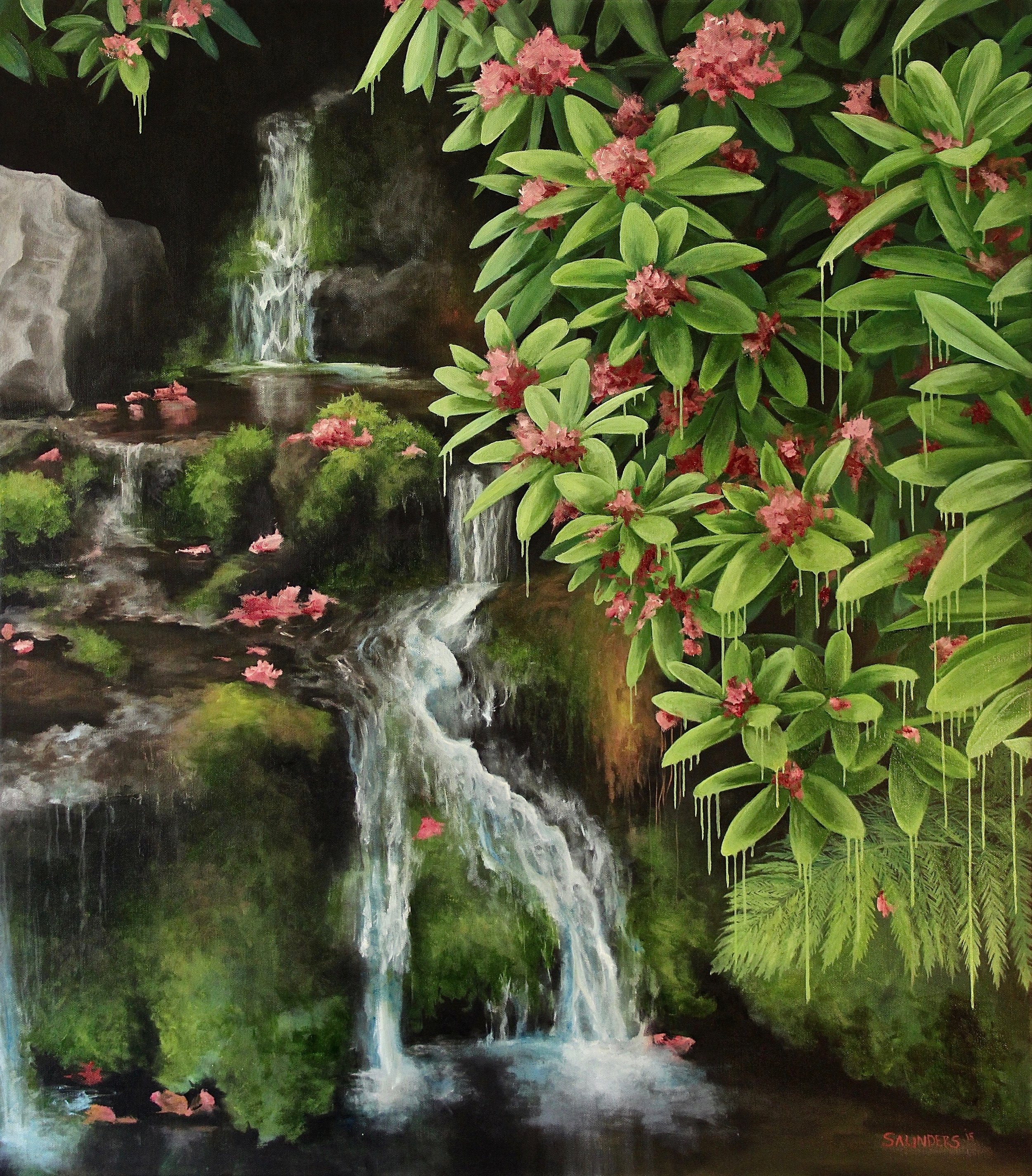 Oregonia       ($1,000) Oil- 32 x 28 inches.    Available for purchase.      Rhododendrons, mosses and ferns thrive here in Oregon. The land is so alive and green. We live in a paradise and I really wanted to capture that with this piece.      For information...