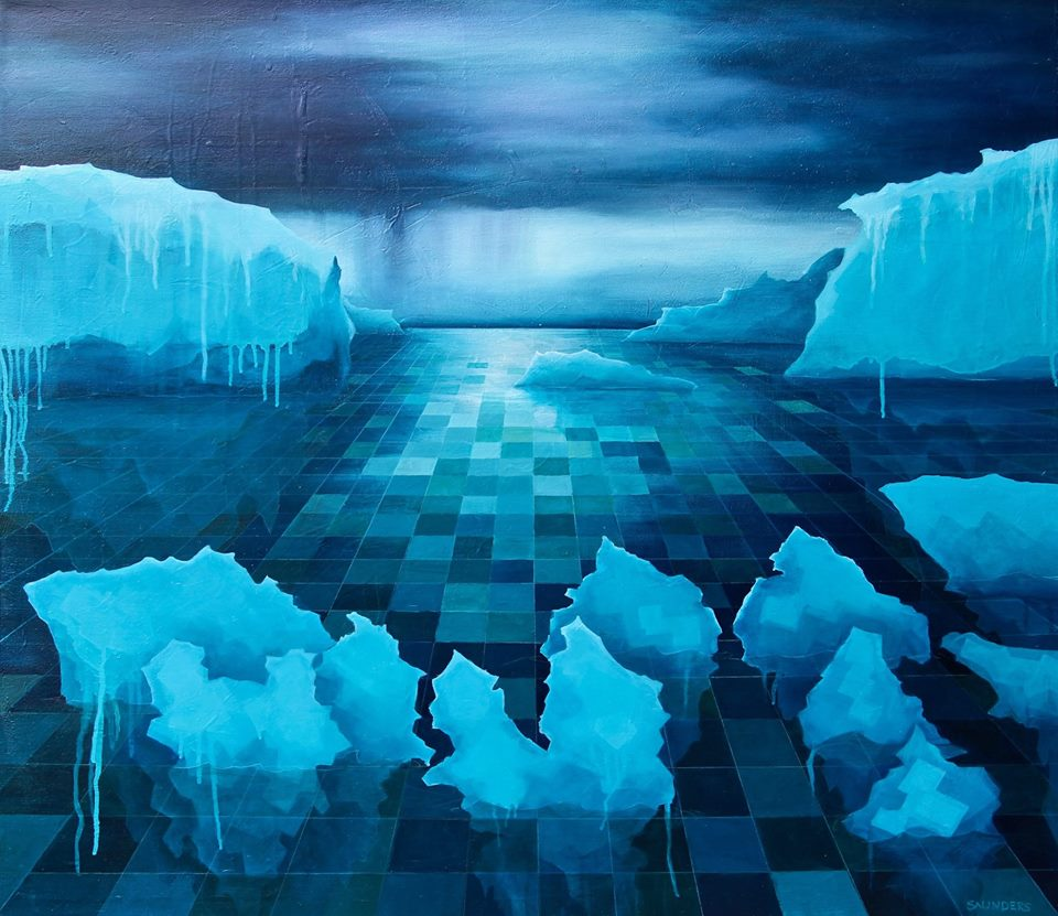 2095       ($525) Oil- 28 x 32 inches.       SOLD        In this painting you see more of that pixelated and graphic style with the water. Our glaciers are melting and the digital world is becoming a reality, get ready and enjoy the view.      For information...