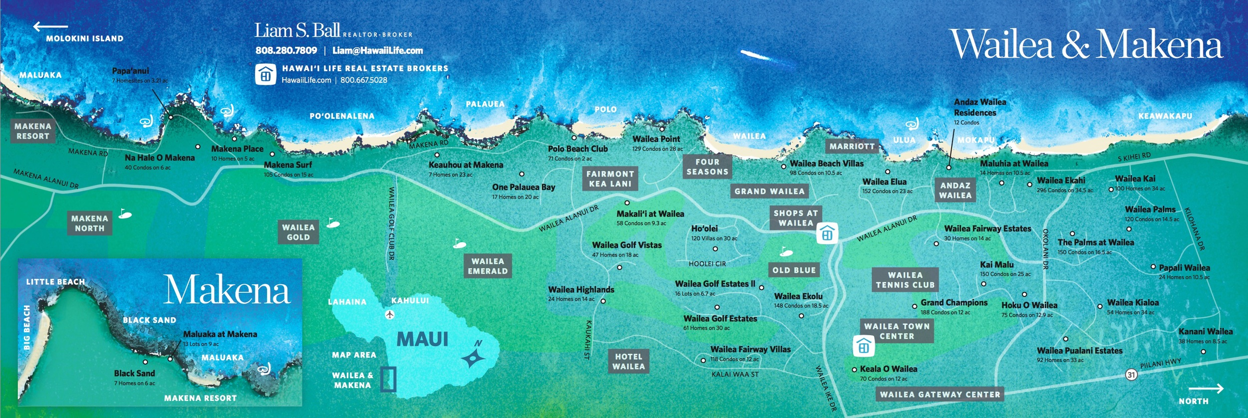 This beautiful map of Wailea Real Estate was created by Ginger Mudlin of the Hawaii Life Art Department