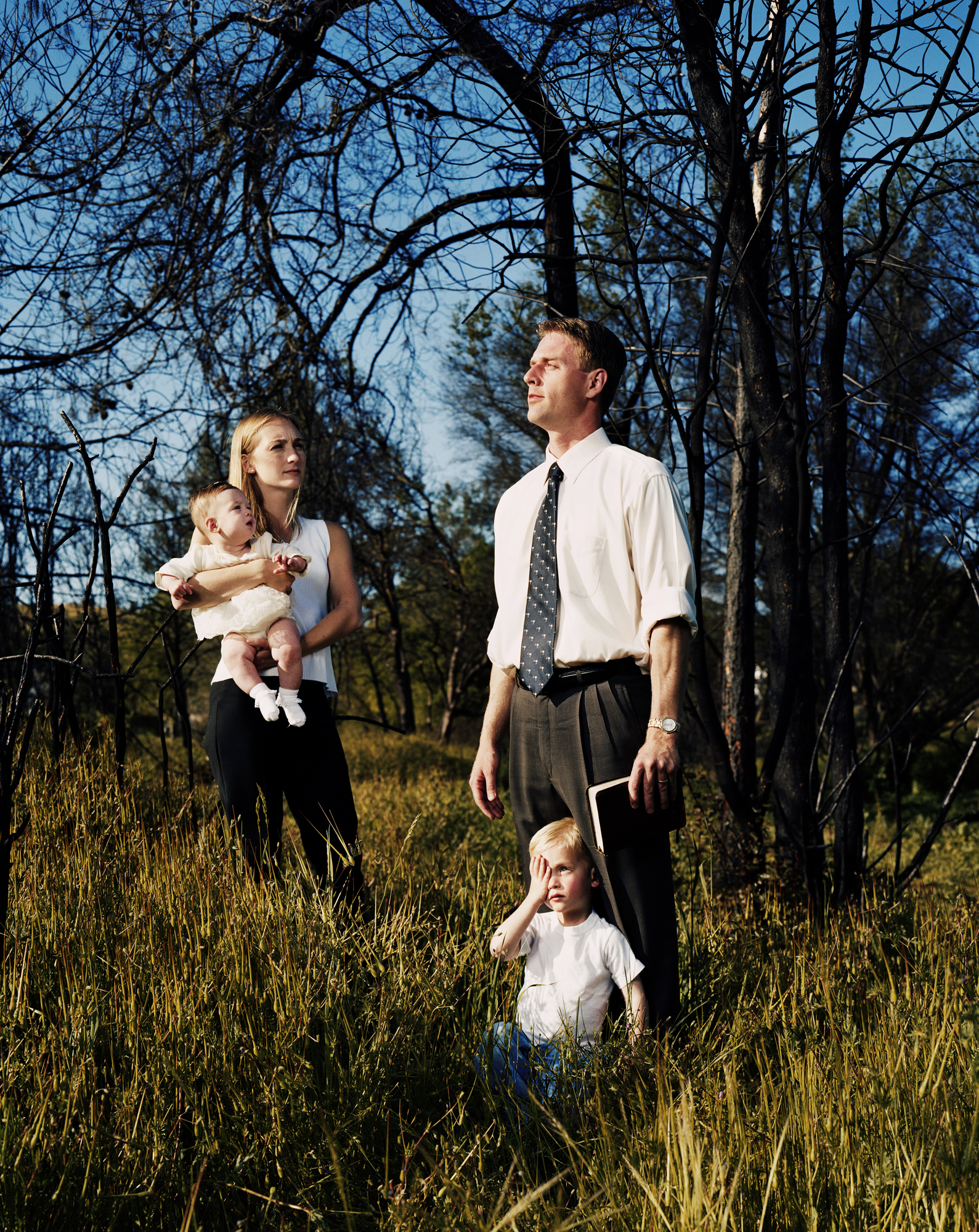 Cory Burnell with family - Founder of Christian Exodus - a right-wing Christian secessionist movement at home in northern California