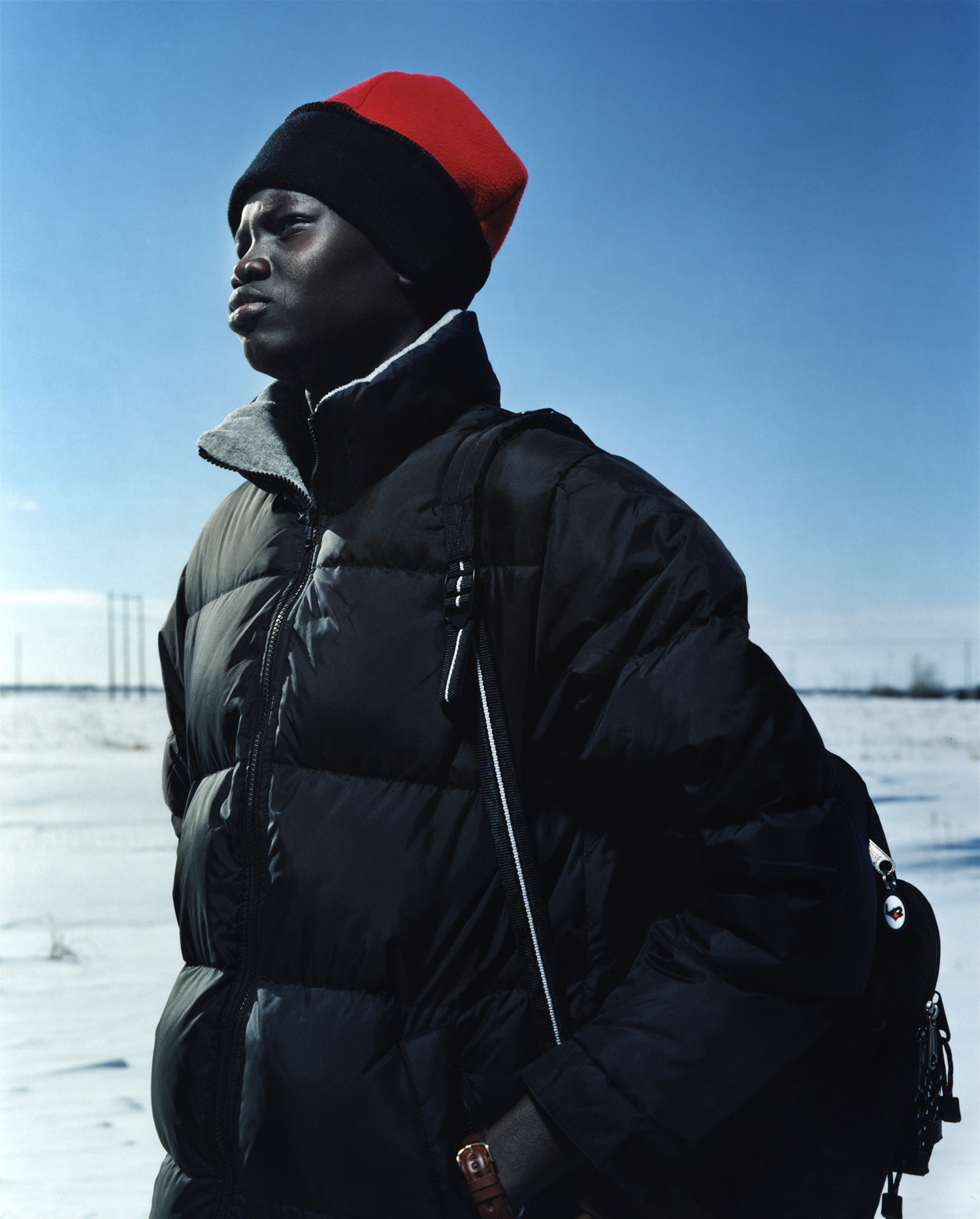 Riak Dut - One of the Lost Boys of the Sudan who ended up in Fargo, ND in the middle of winter in sub-zero temperatures. Fargo, ND - Feb. 2001 for the New York TImes Magazine