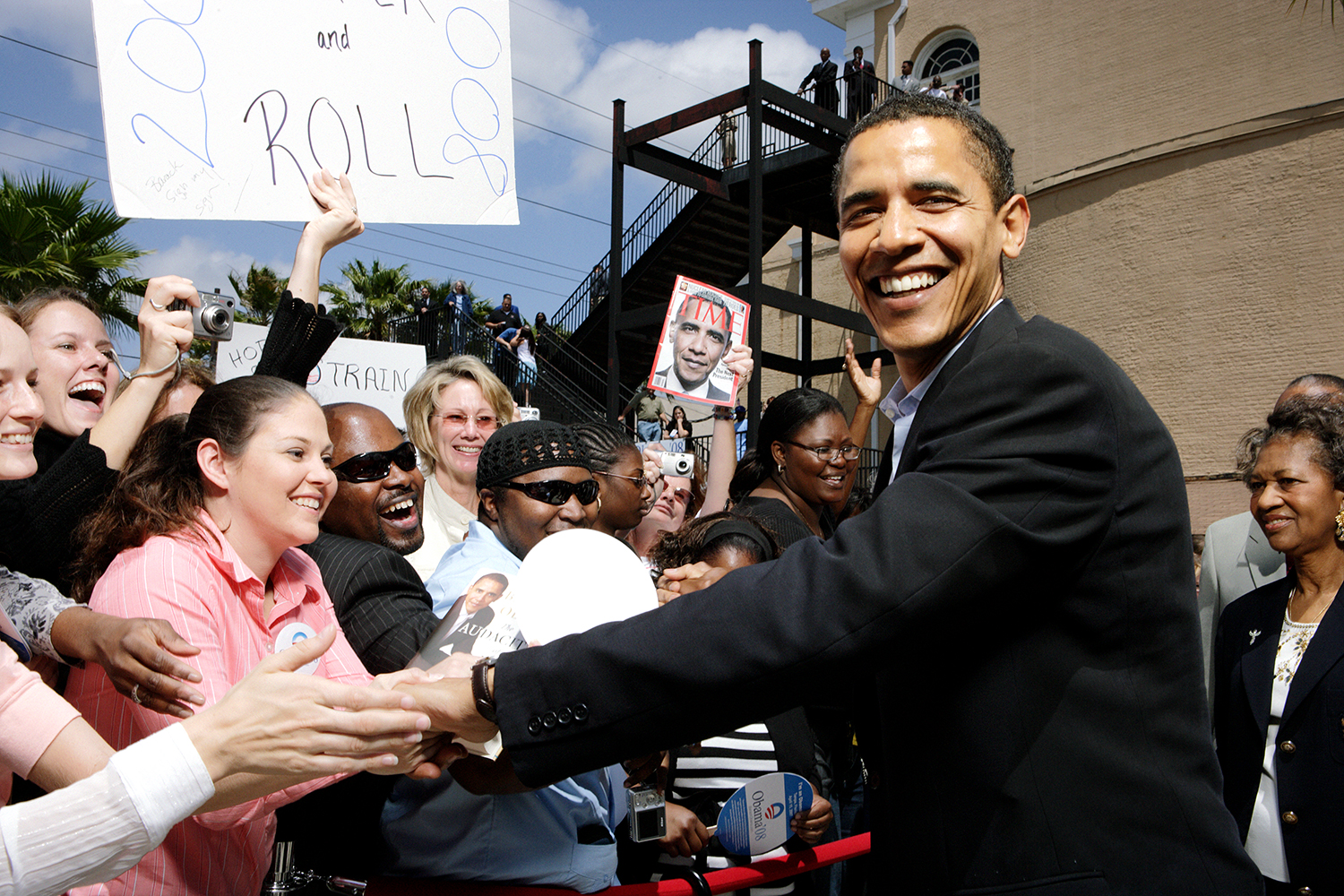 Barack Obama - St. Petersburg, FL campaigning in early 2008 for the Democratic Presidential ticket.