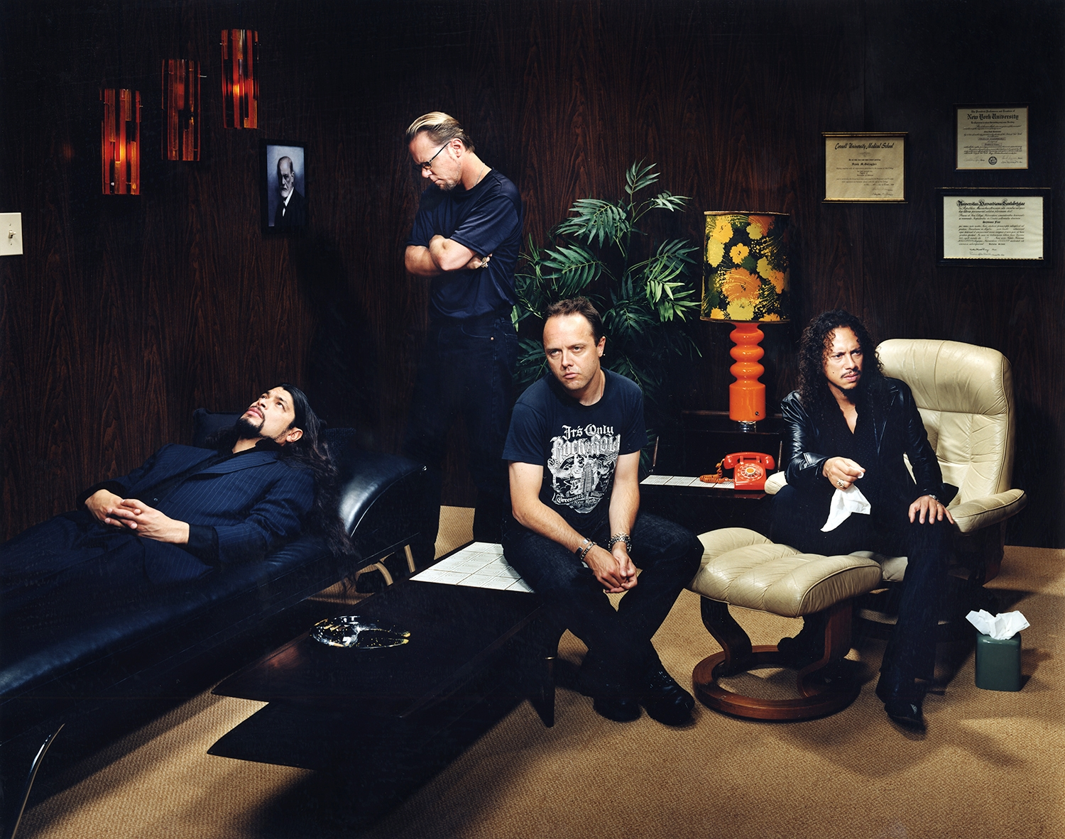 """The band Metallica underwent """"group"""" psychotherapy in the early 2000's as means of dealing with growing creative and personality differences that were threatening to break them up - New York City"""