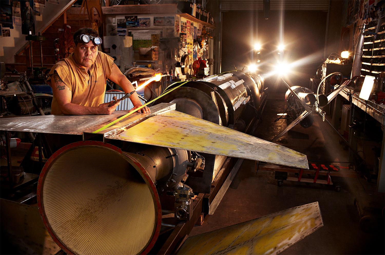 Waldo Stakes - built rocket set to break land speed record - Lancaster, CA