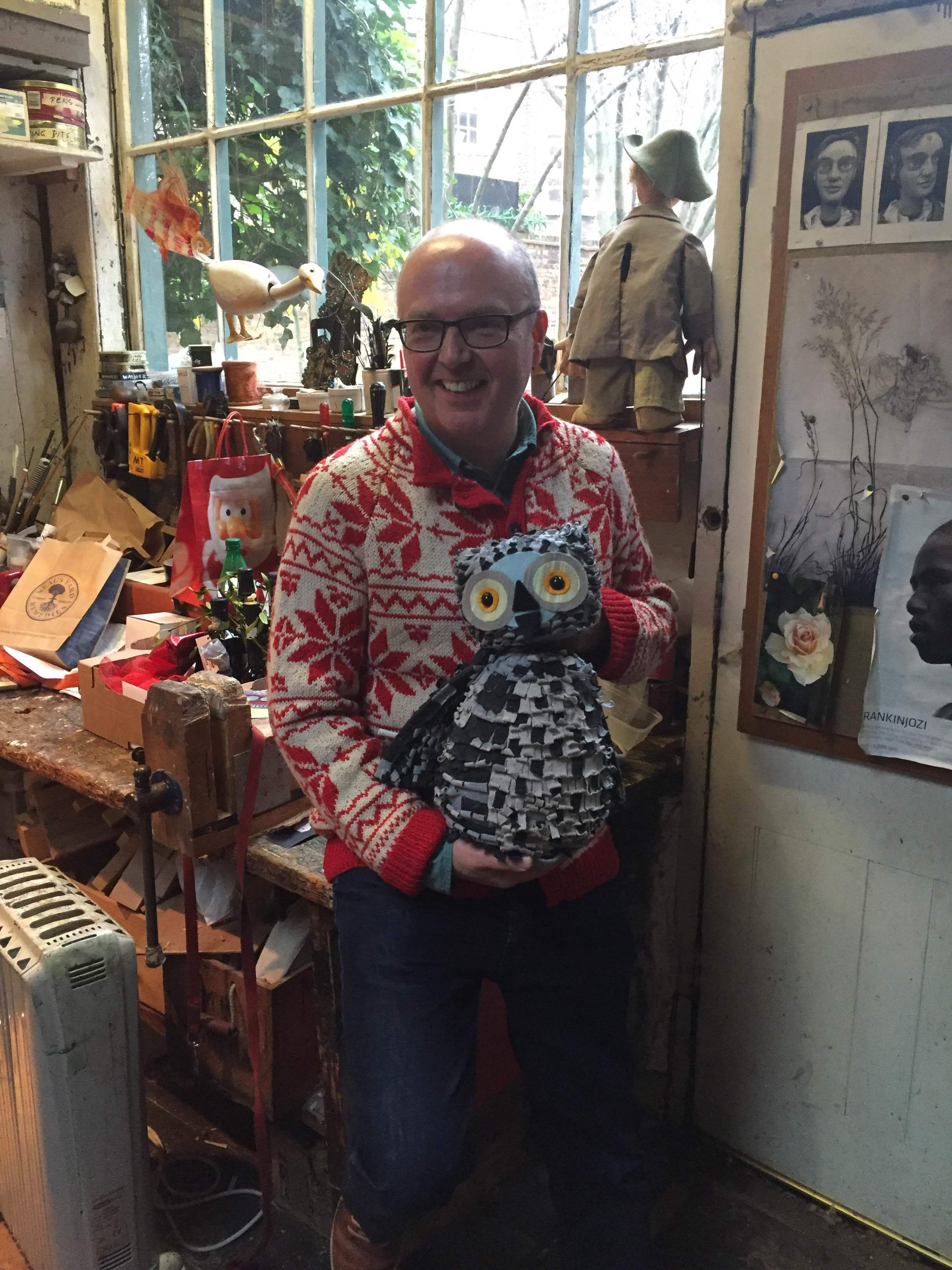 In The Little Angel Theatre workshop in December 2015 with one of the Wow! Said The Owl puppets created by Keith Frederick.