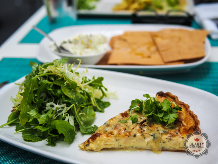 Cauliflower and blue cheese tart with greens.