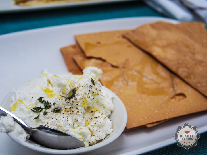 Goat cheese with Olive Oil and Flat Bread.