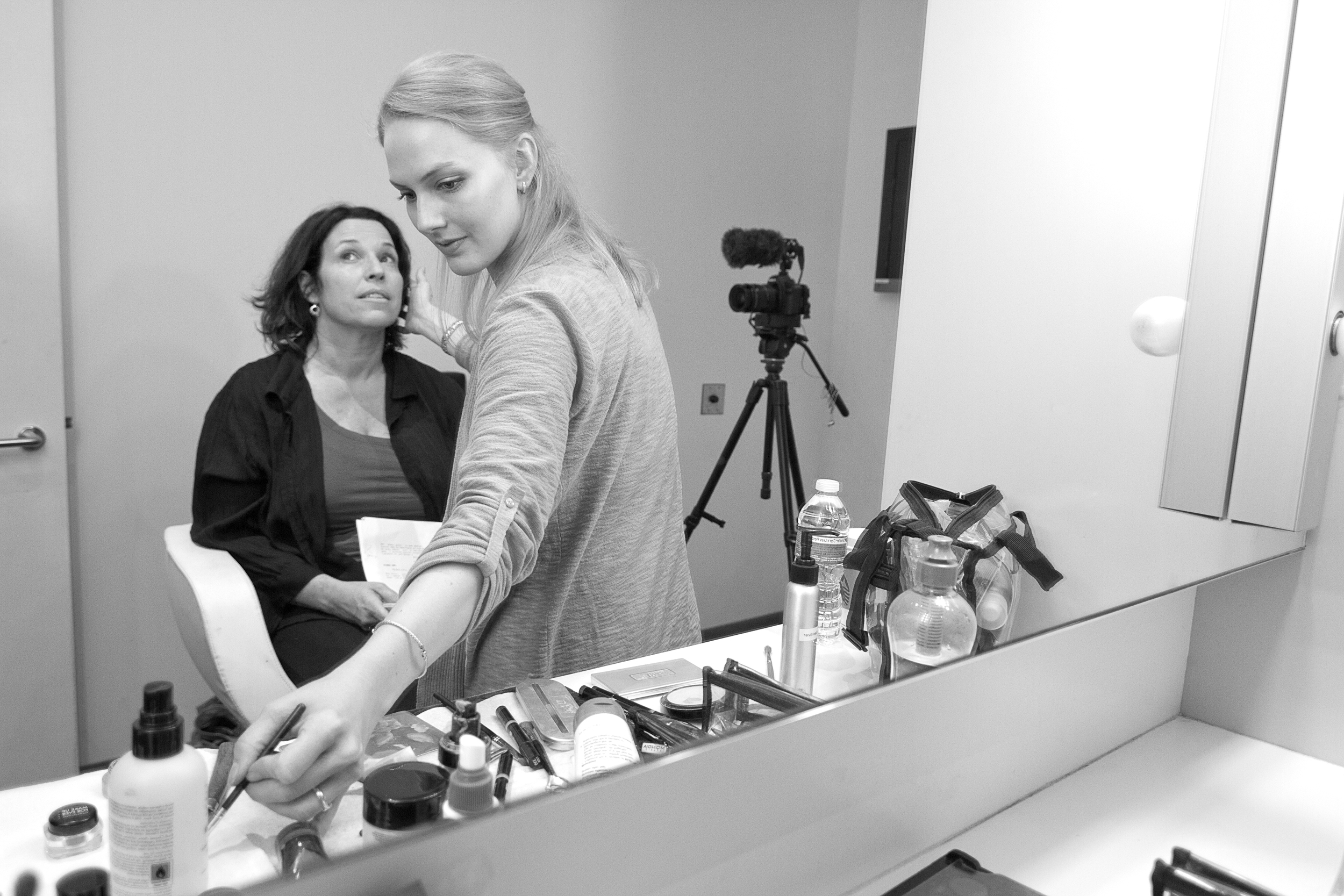 Manning in make-up before  Huffington Post  video shoot