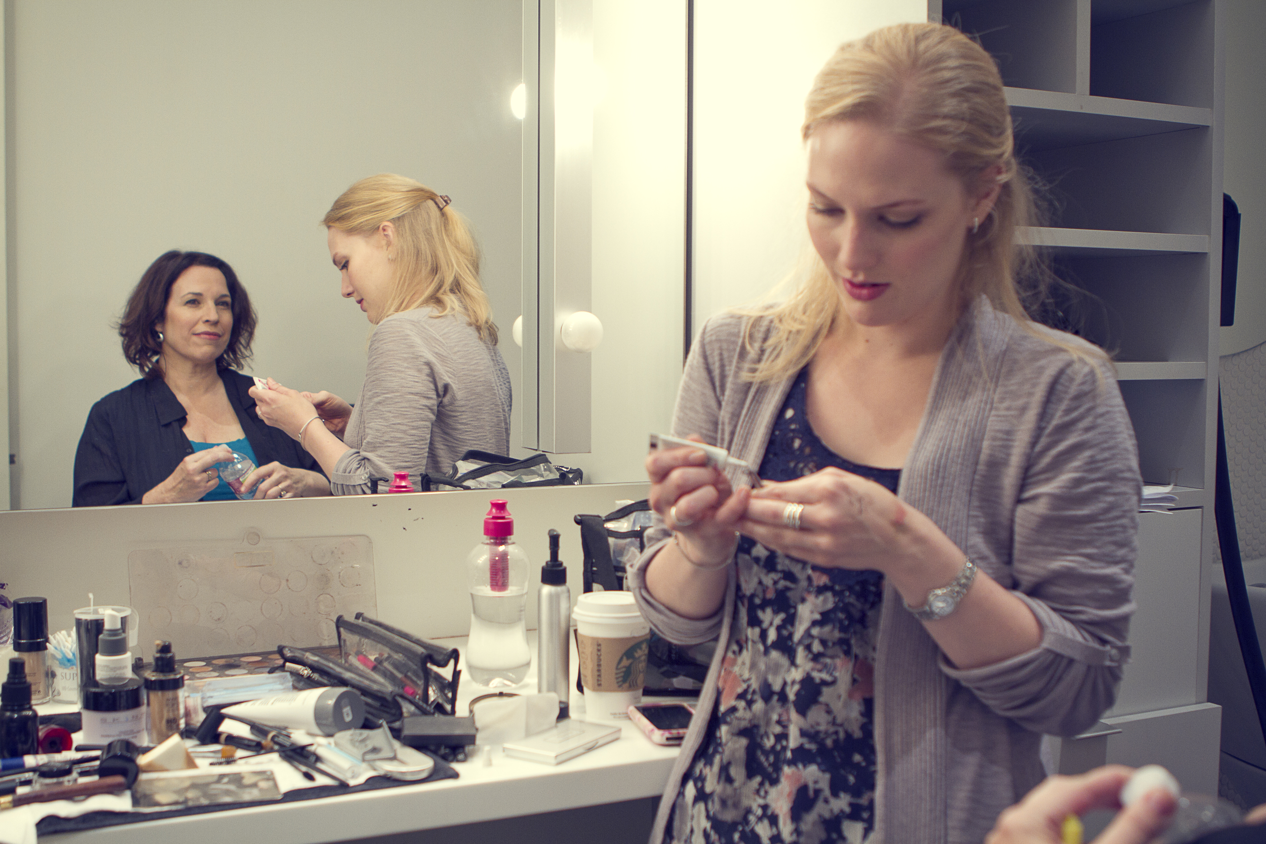 """Manning with make-up artist before  Huffington Post  """"Breakover"""" shoot"""