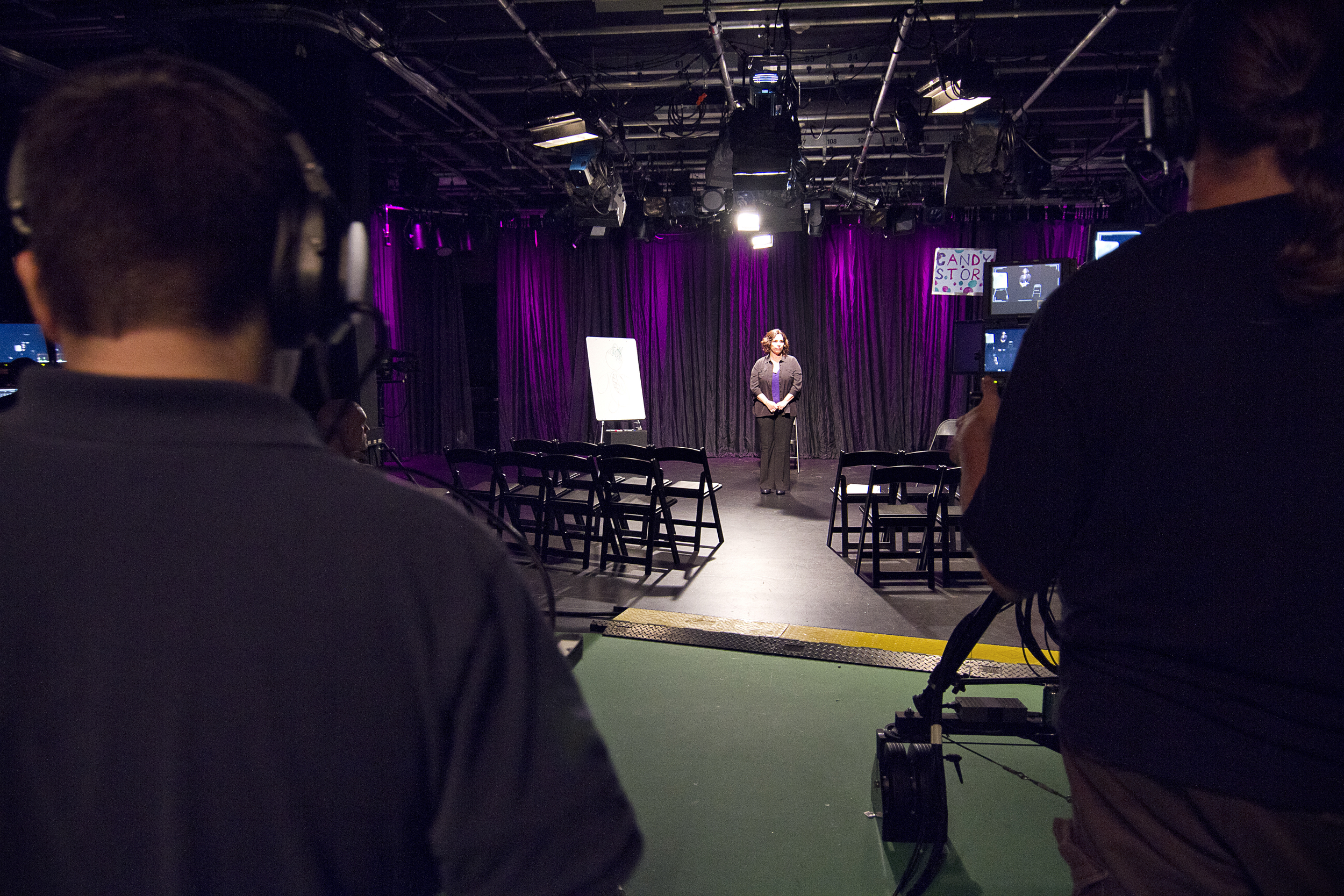 """Lighting check before Manning performs """"Stronger than the Wind"""" for  Huffington Post  video shoot"""