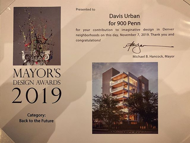 We are honored to receive a 2019 Mayor's Design Award for our amazing project at 900 Penn! Thank you, @denvercpd and Mayor Hancock! ・・・ #davisurban  #architecture  #denver  #backtothefuture  #mayorsdesignawards
