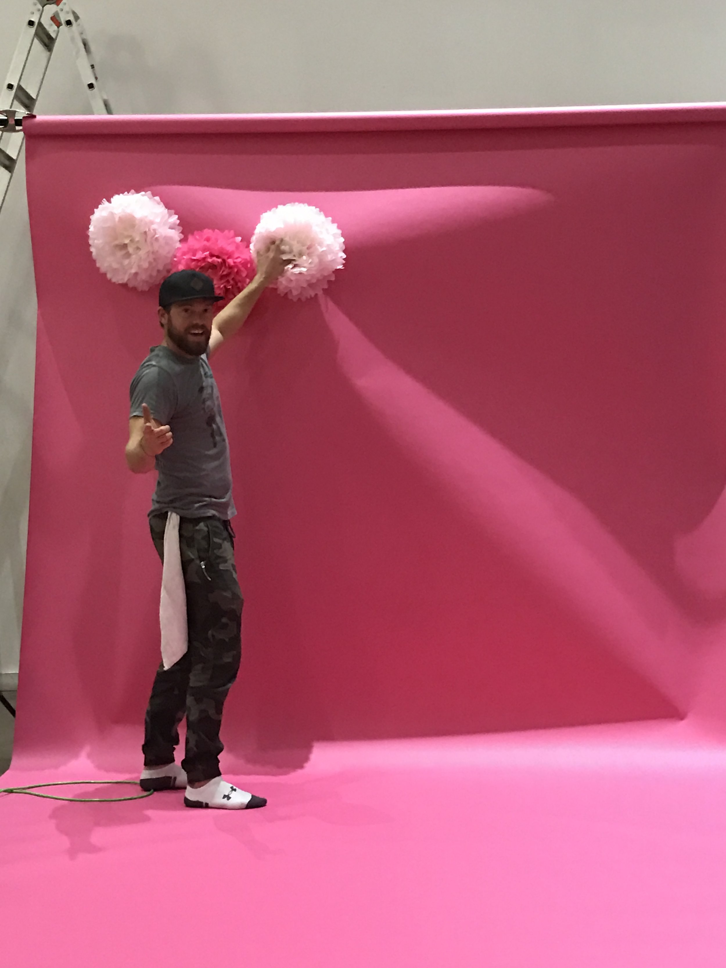 Mickey, our Prop Master. Pink looks good on you dude.
