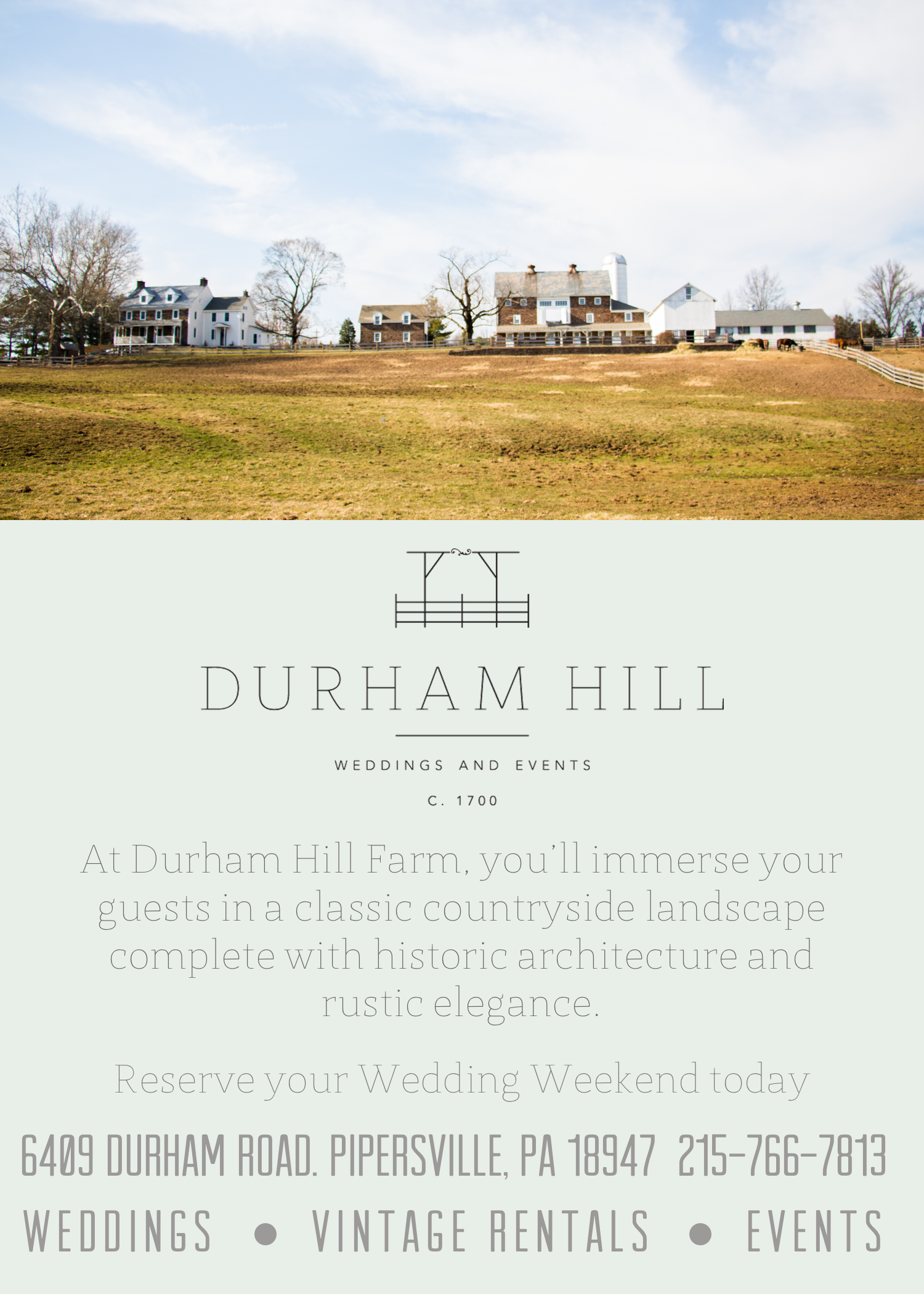 "Durham Hill Wedding Venue, 4""x6"" Flyer"