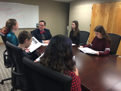 Students in last year's Let's Go Lobbying intensive lobby Senator Toomey's PA Director for stricter background checks on gun purchasers.