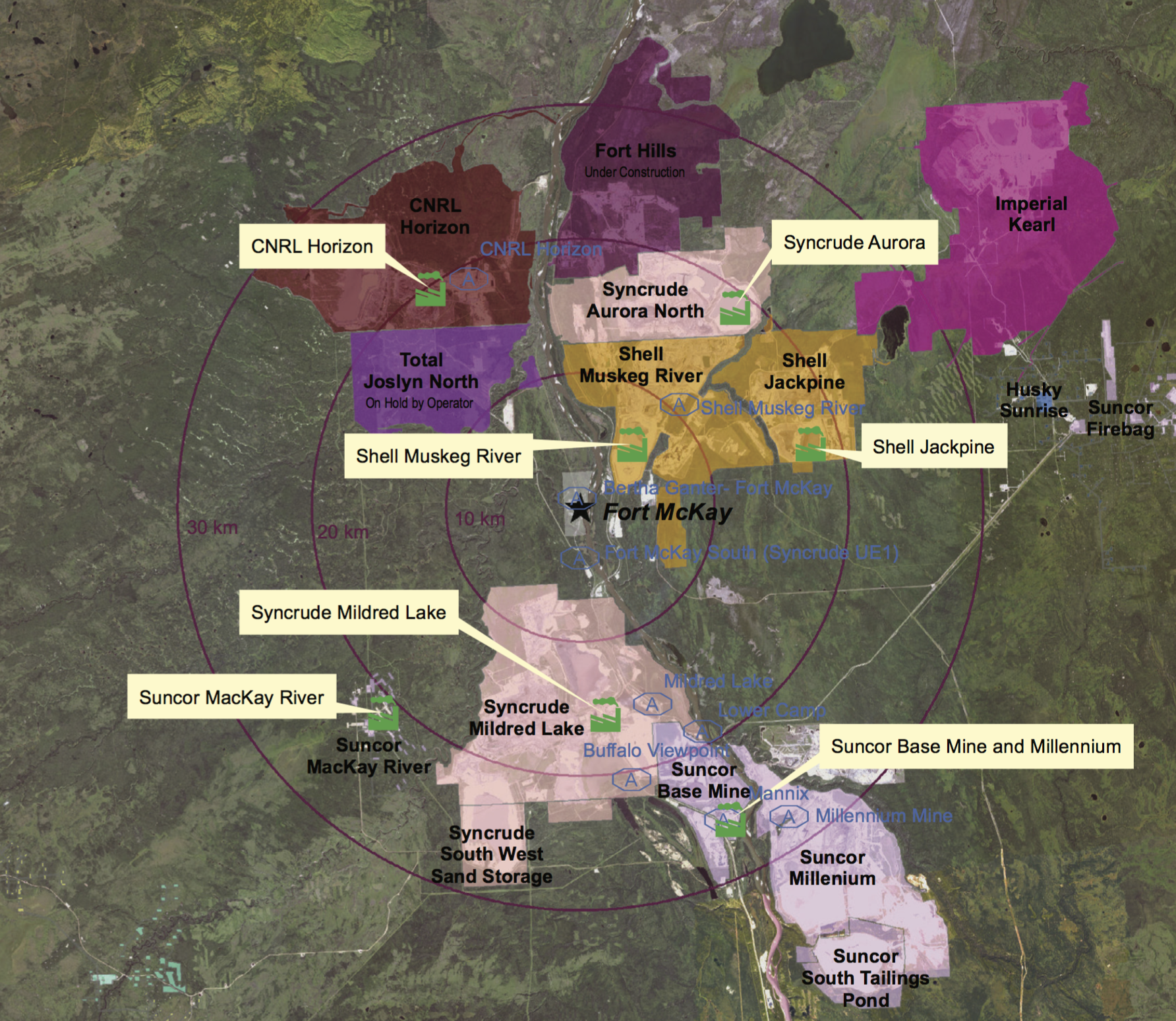 OIL SANDS OPERATIONS MAP (COURTESY AER)