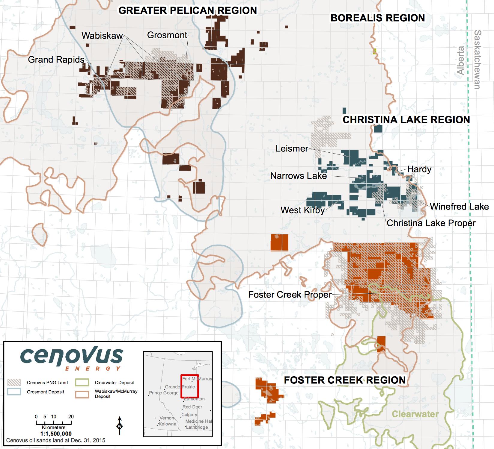 OIL SANDS LEASE MAP (COURTESY CENOVUS ENERGY)