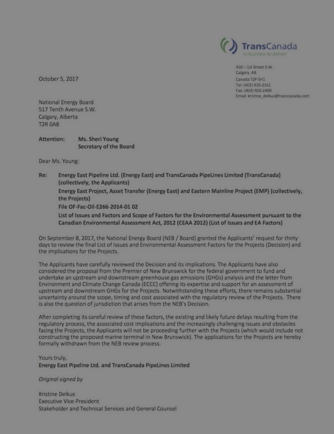 TRANSCANADA'S NOTICE OF WITHDRAWAL -