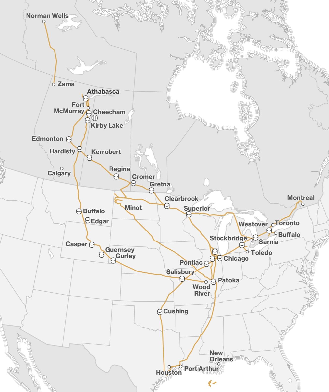 ENBRIDGE LIQUIDS PIPELINE MAP (COURTESY ENBRIDGE)