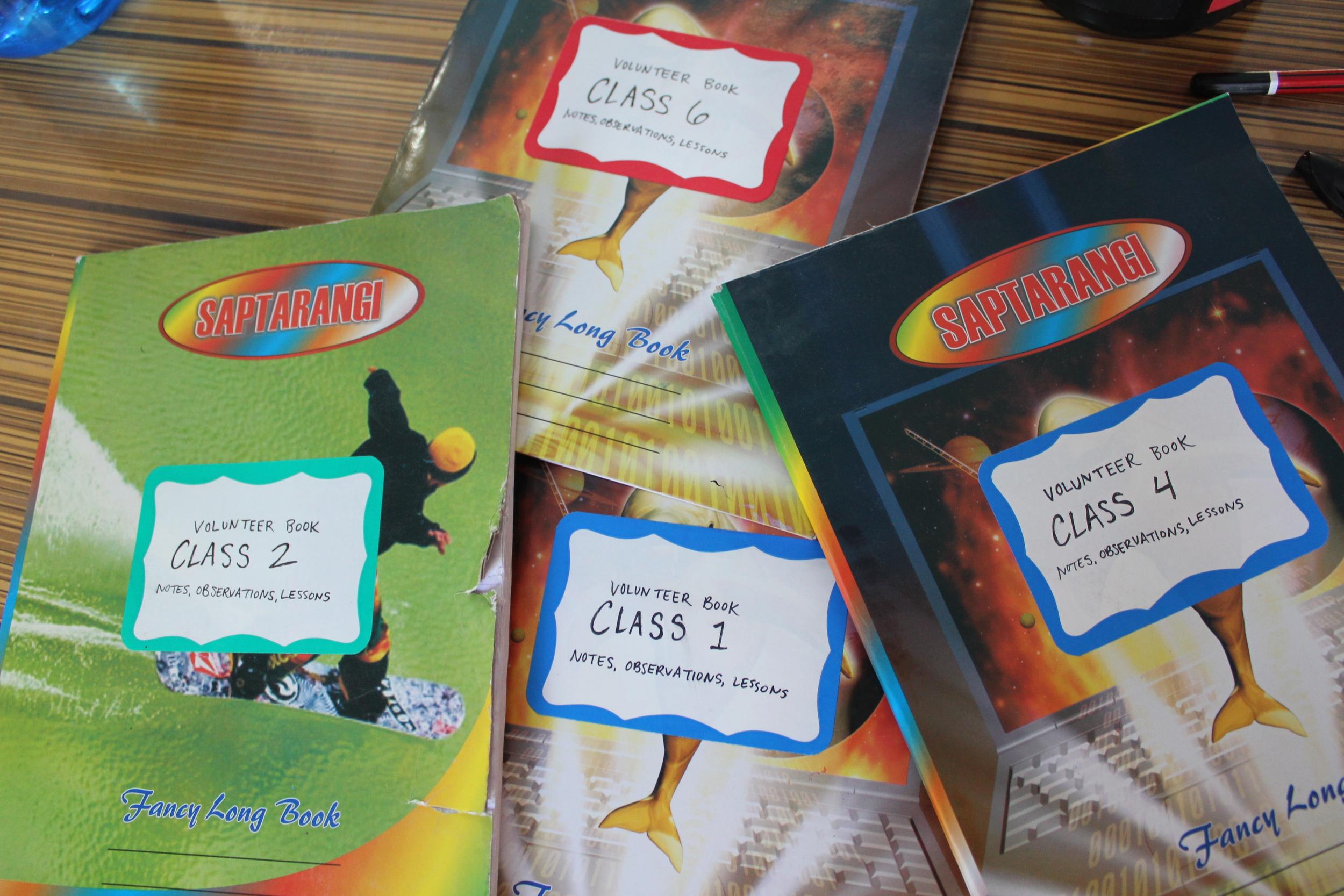 Notebooks for volunteer teachers.
