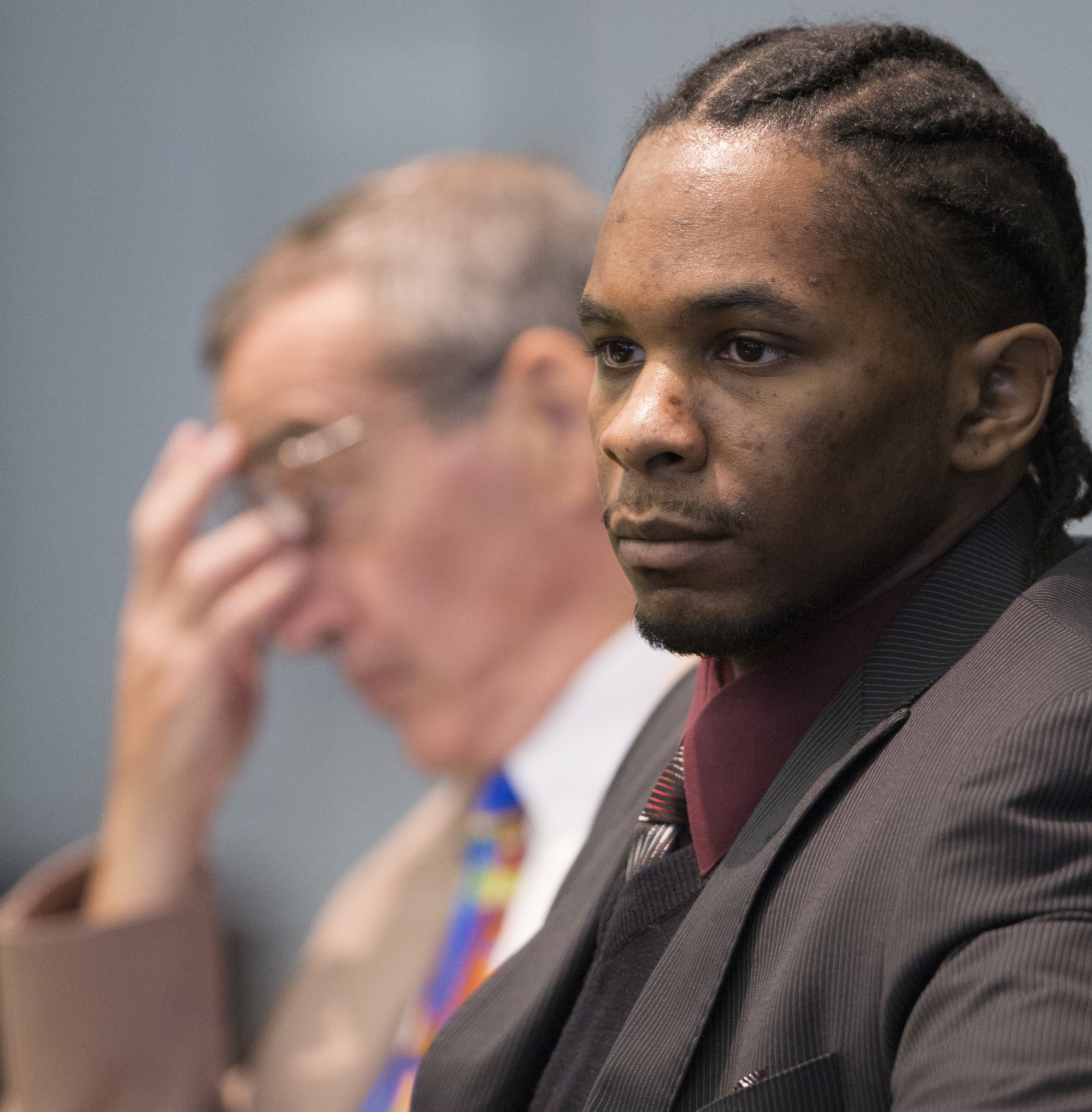 Friday: Defense attorney Kevin Bradley, left, and defendant Laurence Lovette listen to the opening statements in Durham Superior Court on Friday, July 18, 2014 in Durham. Lovette is accused of murdering Abhijit Mahato, a Duke grad student in 2008.