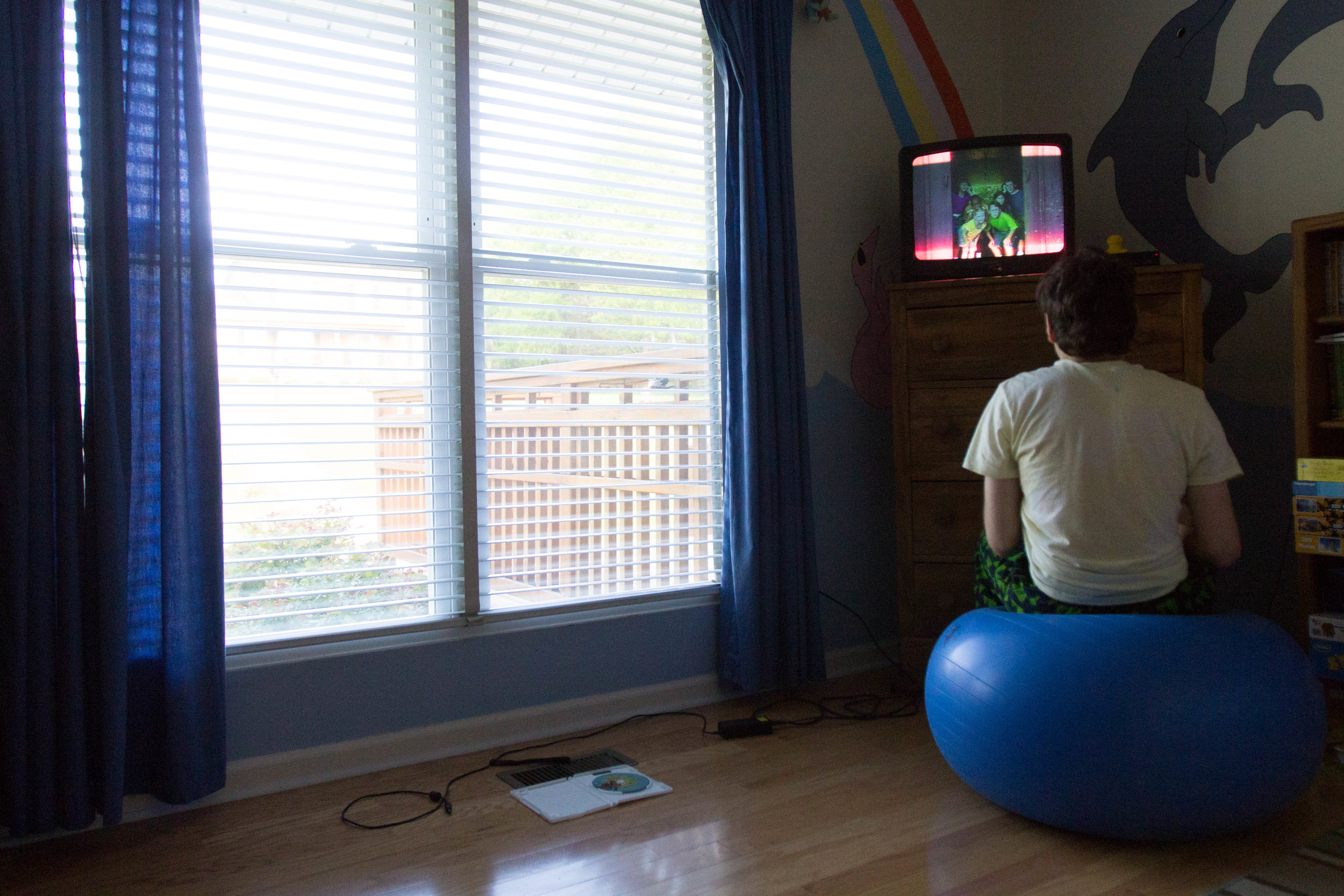 """""""Zack is still mentally very young in a lot of ways, like a 2-year-old, even though he is physically 16,"""" said Vicki.  Zack loves to watch children's shows and movies, replaying certain parts. He sits on a bouncing ball in his room, rewinding the movie so that he can watch the same five seconds over and over again."""