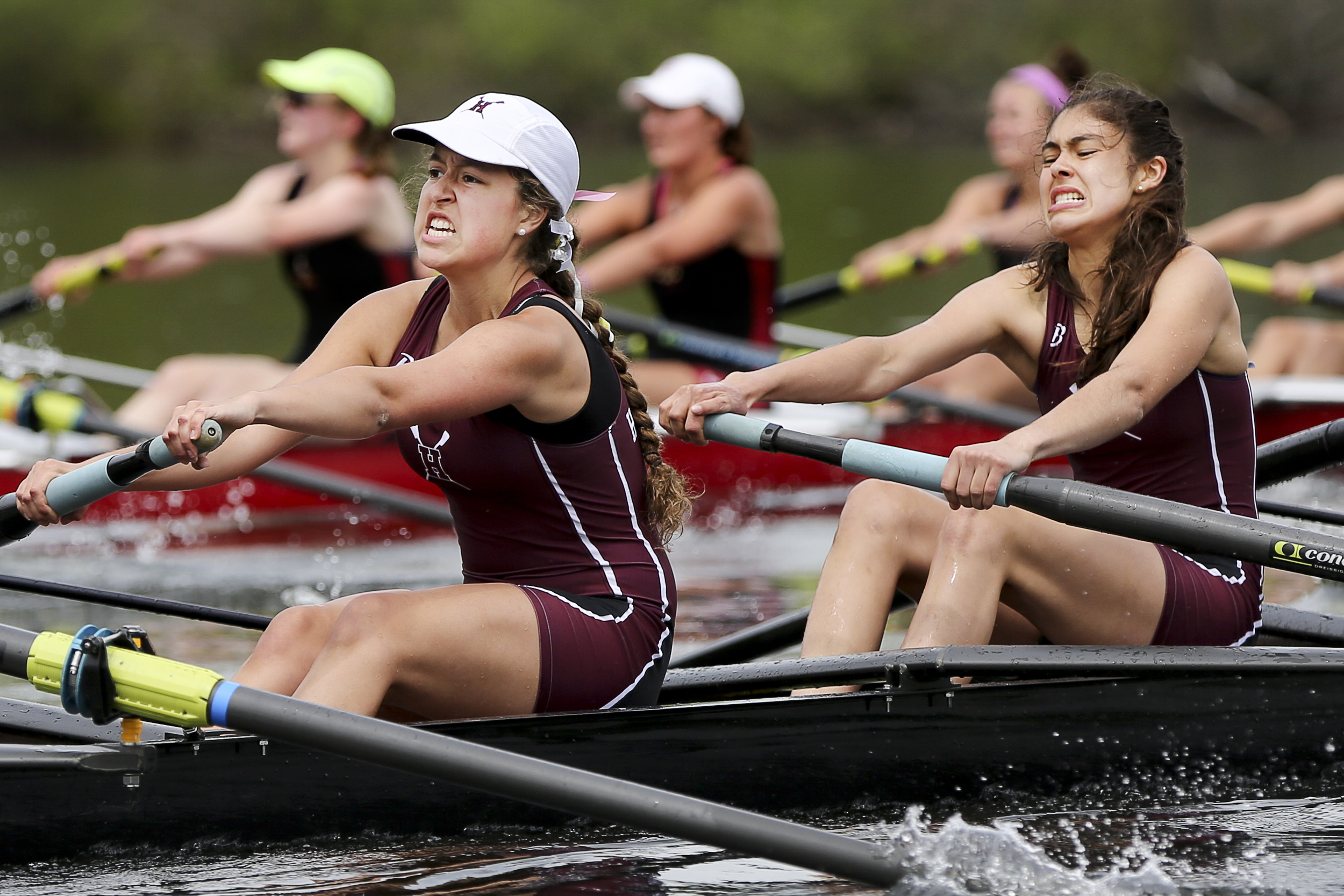 Hanover's girls varsity boat struggles to keep pace with Tabor Academy during the 1500-meter race down the Connecticut River in Hanover, N.H., on May 16, 2015.