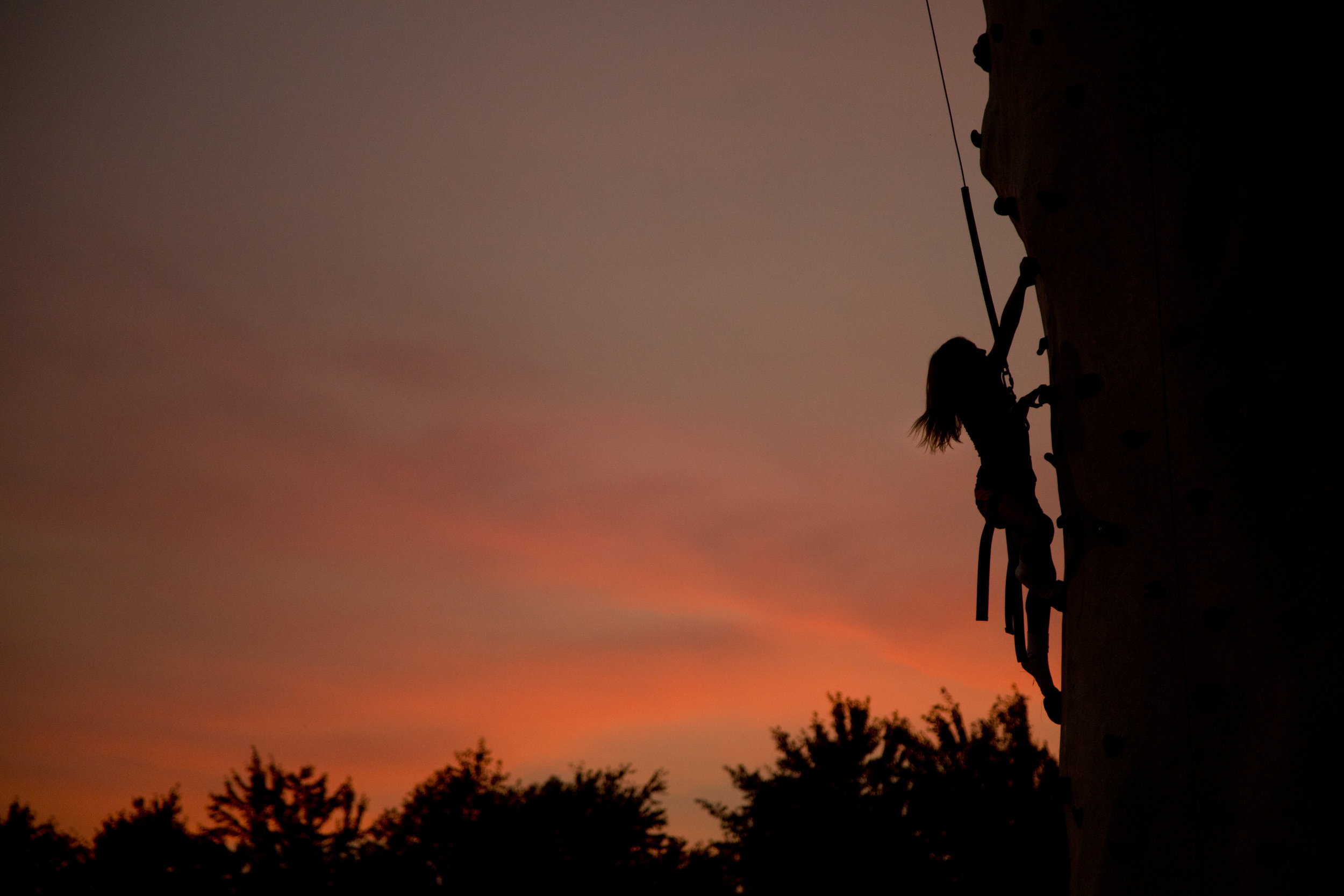 Lily Harpe of Alexandria, 9, climbed the tower at the Dubois County 4-H Fairgrounds in Bretzville on Thursday evening.