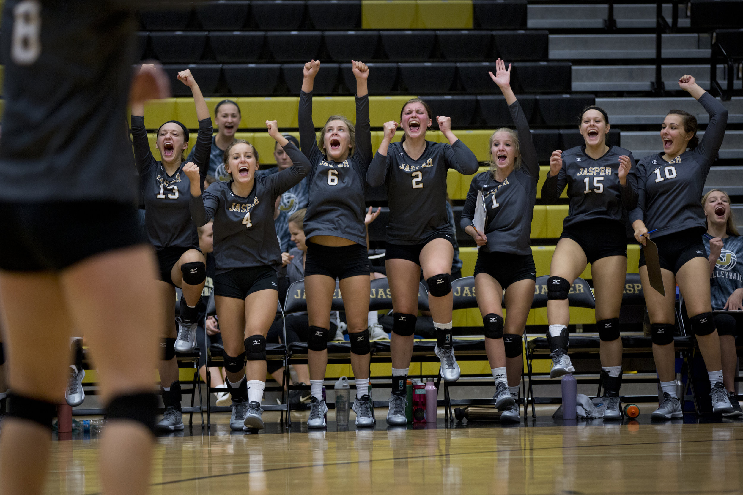 Jasper's Meredith Hilgefort, Mariah Seifert, Anna Moeller, Maddie Edwards, Rylee Hedinger, Taylor Wildman, and Breann Dorsam celebrated after winning a point during the match against Northeast Dubois in Jasper on Thursday. Jasper won in three sets.