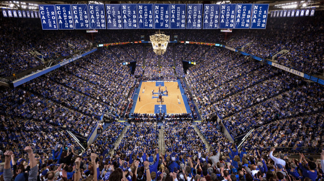 Rupp Arena with banners hanging.