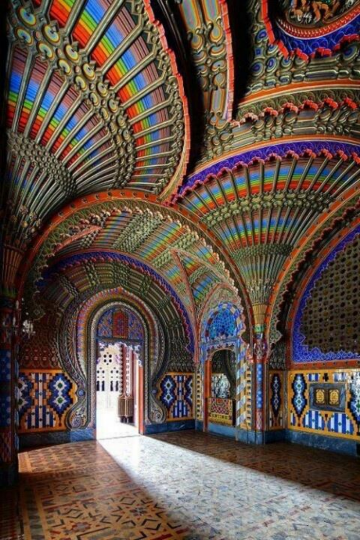 The Peacock Room – Castello di Sammezzano in Reggello, Tuscany, Italy. Within an abandoned castle in Tuscany, you can find the Peacock Room, a hidden jewel which features intricate Moorish designs and a breathtaking assortment of patterns and colors. Photo: Inside Out Magazine