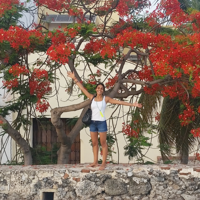 Standing on the wall in Cartagena