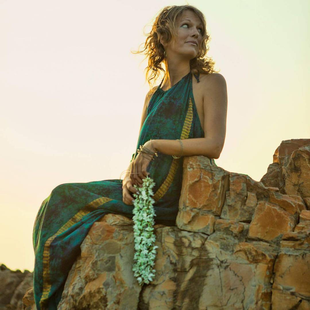 Jennifer in Goa, wearing a Love Nomadic Imali dress