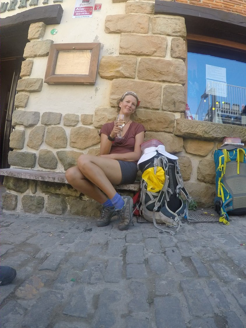 Enjoying a well deserved glass of wine on the camino de santiago