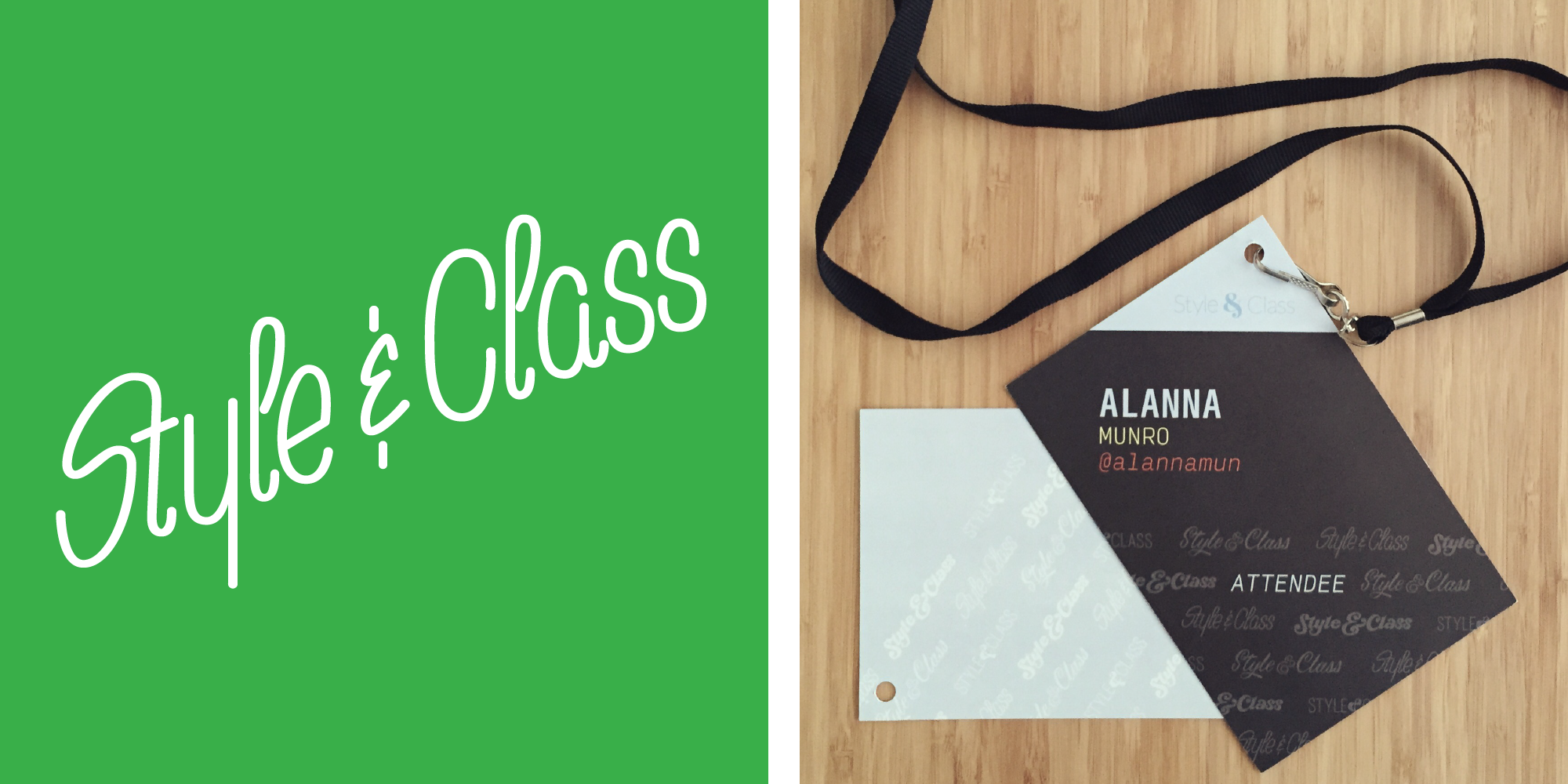 """I collaborated with some of my super talented colleagues, we each lettered """"Style & Class"""" and put themtogether as apattern for the  Style & Class  conference materials."""