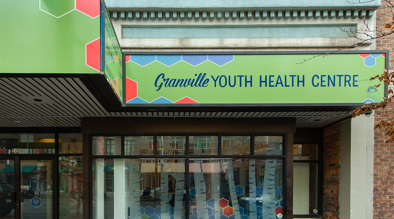 """""""Granville"""" is hand-lettered and """"Youth Health Centre"""" is made from the custom typeface"""