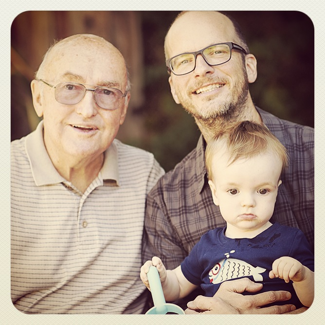 Granpda Jim, me and Dusty:  three generations!