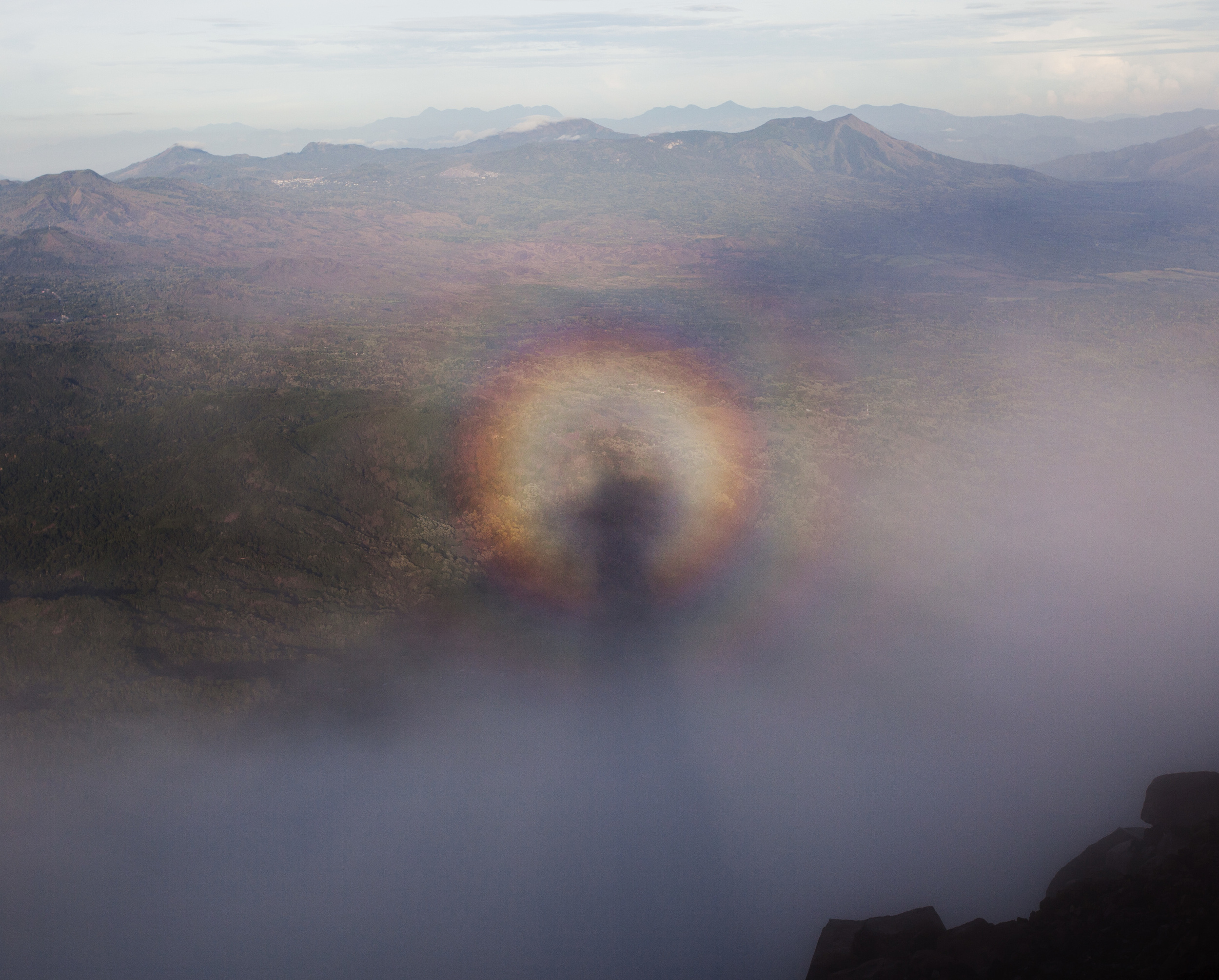 cool circular rainbow that formed in the blowing mist