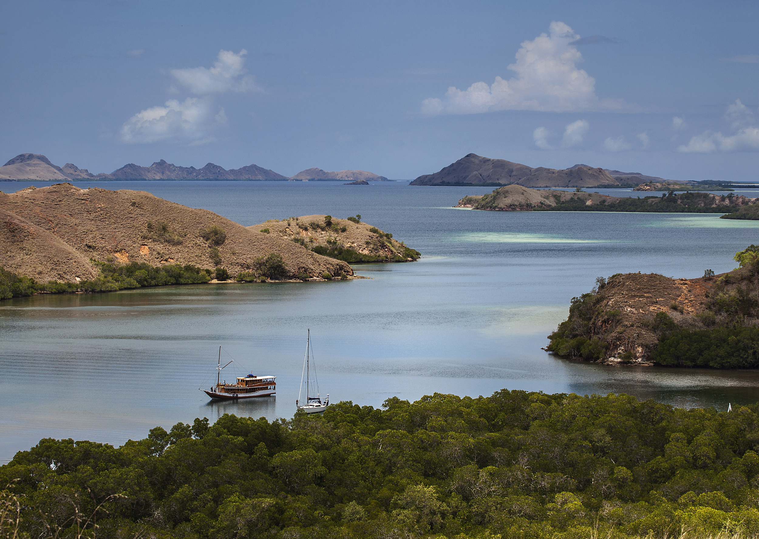 The viewpoint looking over the islands at Rinca National Park, off the island of Flores