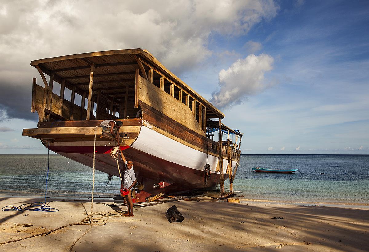 traditional boat building near Bira, Sulawesi