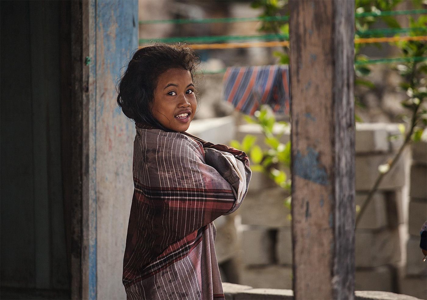 girl in the island village near Bira