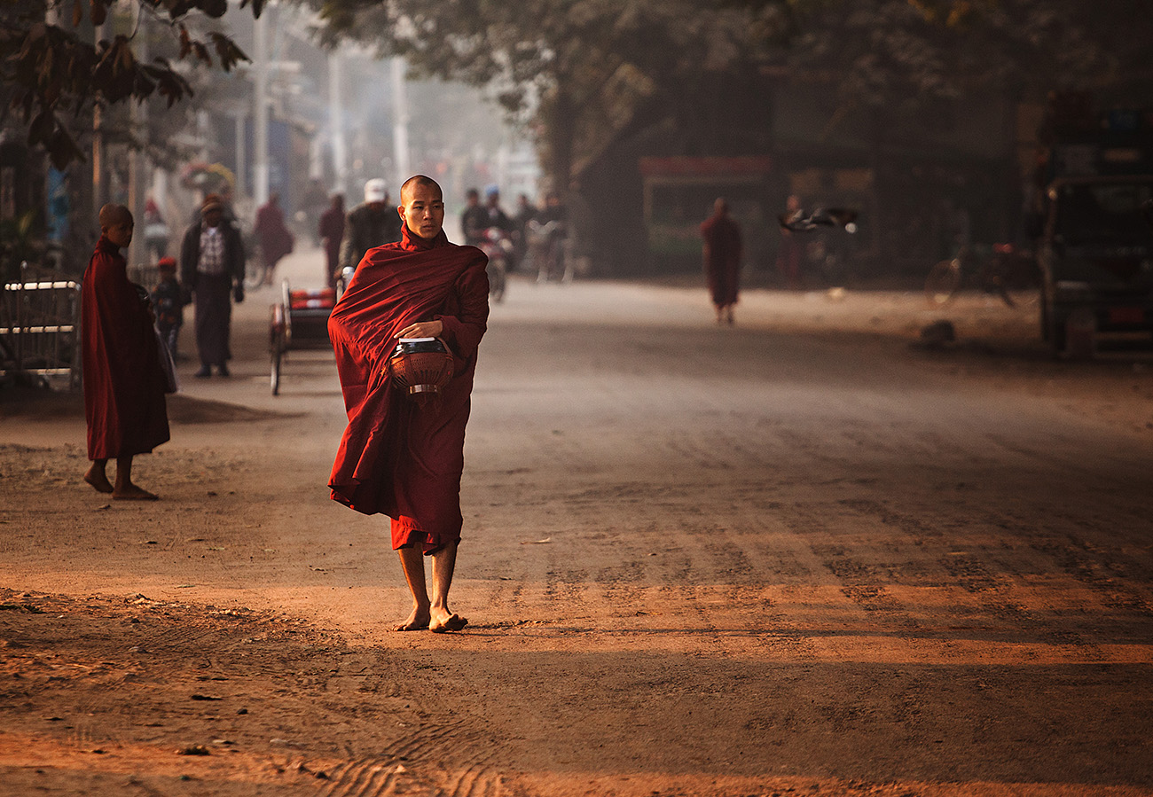 Monks ply the roads collecting alms
