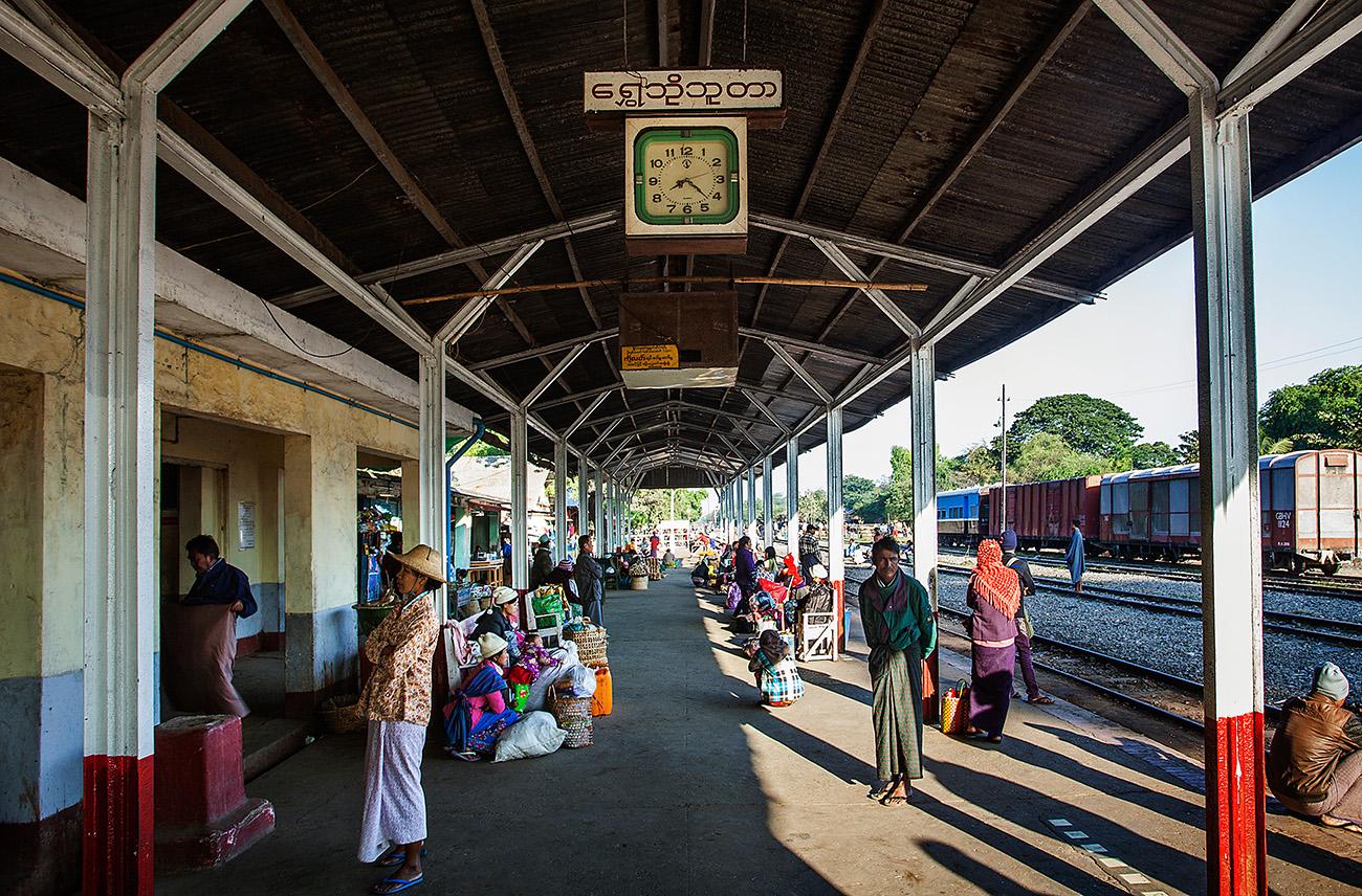 Passengers waiting at Shwebo Station
